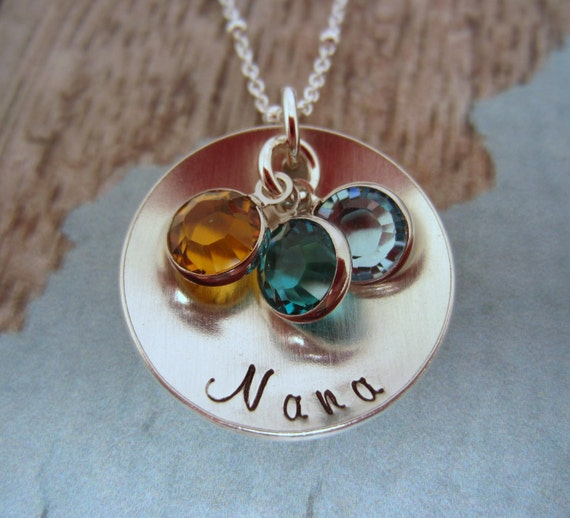 birthstone necklace for grandma nana necklace by