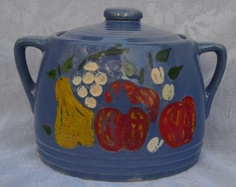 eb1411 OLD Stoneware Farm Kitchen Cookie Jar Blue with Rustic Hand-Painted Fruit Decor