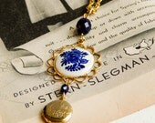 Vintage delft necklace / delft blue / delft jewelry / upcycled necklace / locket necklace / repurposed necklace / delft flower necklace