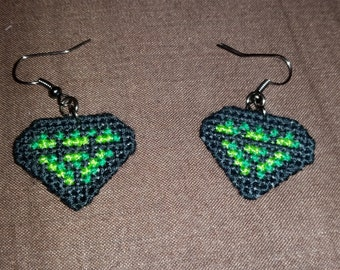 Green Jewel Cross Stitch Earrings