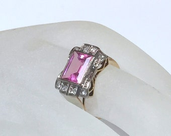 18k PINK SAPPHIRE and Diamond Ring- Rectangular- Step Cut Stone- Rose Cut Diamonds  - GIA TestedCut Dia