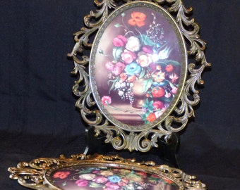 Vintage Made in Italy Oval Floral Wall Hangings Set of Two