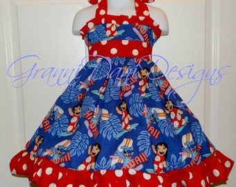 lilo and stitch disney halter twirl dress ruffle baby toddler girl 6 12 18 24 months 2t 3t 4t 5t 6 7 8 disney red white polka dot