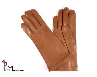 Soft lambskin cognac brown leather women gloves with silk lining - ZAVALITA