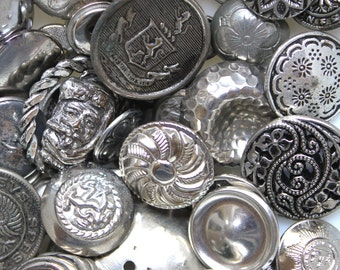 Vintage Assortment Silver Metal Buttons*Metal Button Lot of 50