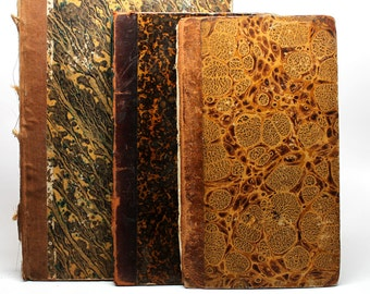 Vintage Book Cover Lot*Journal Making Supplies* Leather and Brown Marbled Paper Book Cover*Journal Making*Gutted Books