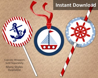 Nautical Cupcake Toppers, Favor Tags, Straw Flags, Instant Download, Boy Baby Shower, Red, Navy, Baby Blue, Party Decorations