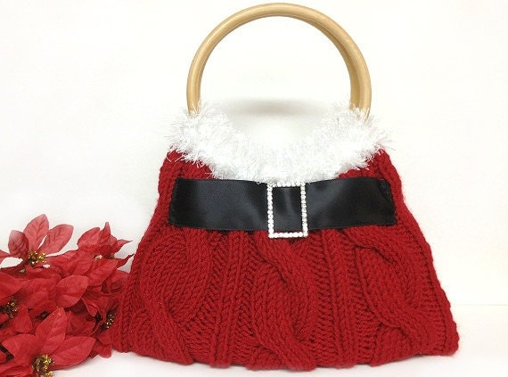 red Christmas purse hand knitted Christmas gift or for you