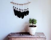 Feather mobile - Australian Raven feathers driftwood hanging mobile - Limited edition