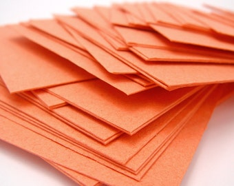 Orange handmade paper cardstock, cut edges, recycled, 10 small sheets, 4.25 x 5.5 inch