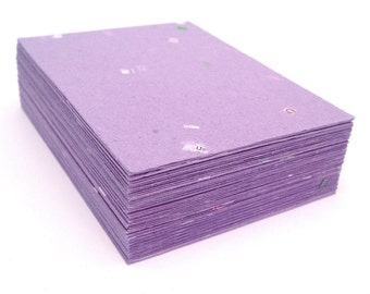 Purple handmade paper cardstock, cut edges, recycled with embedded confetti, 10 small sheets,  4.25 x 5.5 inch