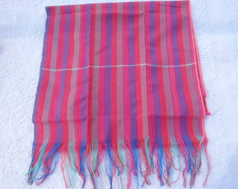 Traditional Cambodian/Khmer cotton Krama/scarf - multi coloured, pinks and purple