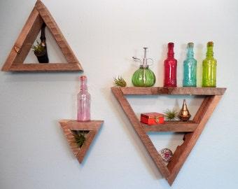 Triangle Reclaimed Wood Shelves Set 2