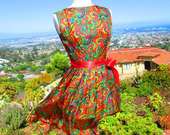 "Vintage 1960's Red Silk Paisley Party Dress Saks Fifth Ave ""I Know What Boys Like"""