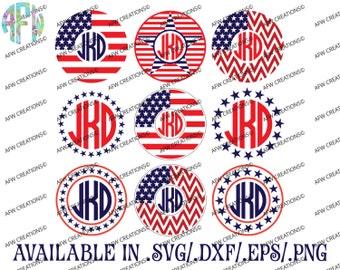 Digital Cut Files, Patriotic Circle Monogram Frames, SVG, DXF, EPS, America, July 4, Vinyl, Vector, Silhouette, Cricut, Veteran, Memorial
