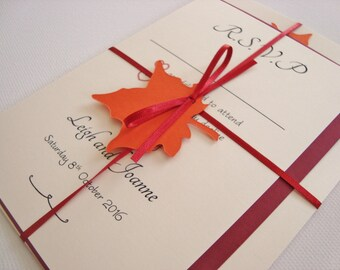 Personalised Autumn Leaf Ribbon Tied Wedding Invitation and RSVP Sample