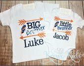 Little Brother Big Brother Sibling Monogram Shirt, Infant Gown, One Piece
