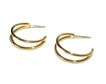 """2 Split Hoops, Antique Gold Plate, 3/4"""" Hoops, Earring, Ear Wire"""