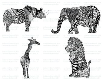 Safari Animals, Black and White Art, Nursery Art, Elephant Art, Pen and Ink Art Prints, Lion Art, Rhino Art, Safari Art, Giraffe Art