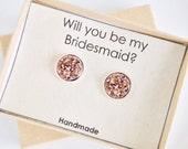 Will you be my bridesmaid gift// Maid of honor//Personalized//Druzy earrings//Gift Ready in box// Plantable card