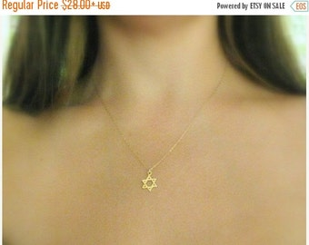 VALENTINES DAY - Star of david Necklace - Jewish star necklace, Gold necklace, Magen david necklace, Gold star of david, Jewish jewelry