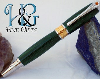 Swirling green handcrafted pen in rhodium and 22k gold Art Deco setting, executive gift pen, rollerball fine writing instrument, jade green