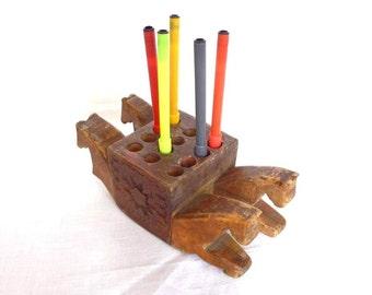 1920's Horses Wood Pens Pencils Holder Handmade. Antique - Vintage - Pencil Holder - Walnut - Horse - Office
