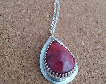Ruby necklace, July Birthstone Necklace, Gemstone Jewelry, Ruby Pendant, Teardrop Necklace