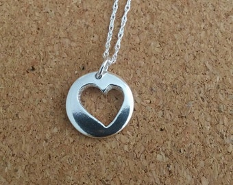 Heart necklace, Heart silver, Disc necklace, Heart jewelry, Disc jewelry, Gift for her, Valentines gift