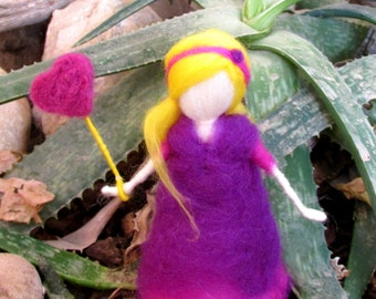 Needle Felted Waldorf Doll,Birthday doll,Purple dool.READY TO SHIP