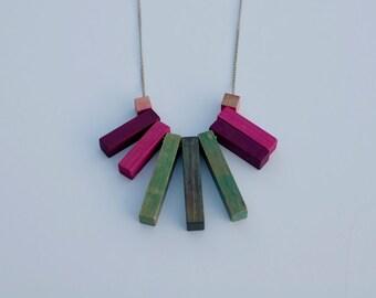 Vintage cuisenaire rod necklace