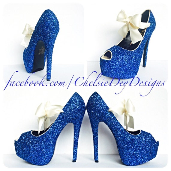 Blue And Silver Glitter Peep Hole Shoes