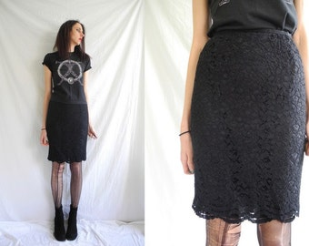 90's goth/rocker black lace knee length high waist Jaeger skirt with scalloped hem