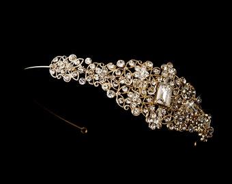 Holiday Sale Gold Crystal Rhinestone Side Accented Wedding Headband