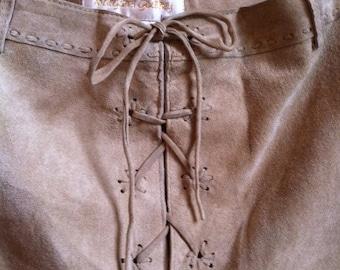 Beige Suede Prairie Skirt By Margaret Godfrey