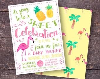 Pineapple Baby Shower Invitation, Flamingo Baby Shower Invitation, Tropical Baby  Shower Invitation, Pine