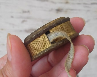 Antique French Tape Measure, Sewing Measuring Tape with Mirror