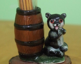 Vintage 1950s Ceramic Toothpick Holder Bear with Barrel Mounted on a Piece of Wood