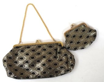 Beautiful Vintage Black and Gold Brocade Evening Bag and Matching Coin Purse