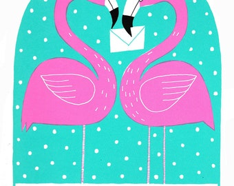 Pink flamingos and love letter screen print