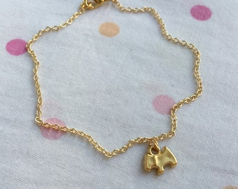 Little Dog Charm Bracelet, Gold Plated Child Jewelry, Kids Bracelet, Puppy Charm Anklet, Ankle Bracelet, Gift for Kids, Toddler Bracelet,
