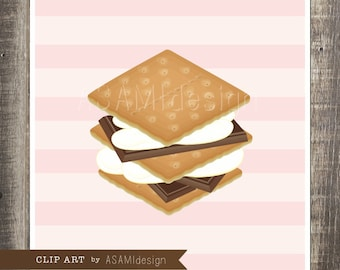 S'more Clipart - food clipart, clip art, instand download, food illustration, mashmallow : PNG