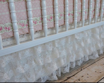 Lace Ruffled Crib Skirt from Rebecca's Shabby Chic Girl Crib Bedding in Ivory Lace and Pink, vintage, shower gift, girl, lavender linens