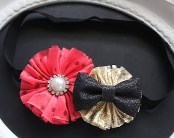 Coral Pink Chiffon with Pearl Diamond Jewel Gem Accent Center and Gold Sequin Flower with Sparkle Glitter Bow on Black Elastic Headband