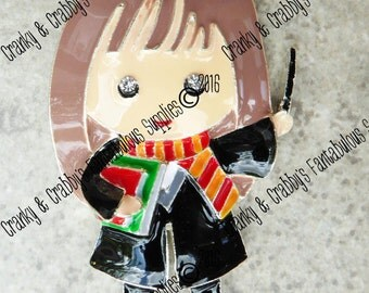 CUSTOM  Boy Wizard  Friend  - Enameled & Rhinestone -  Chunky Necklaces -  54mm x 32mm - Wizarding World Girl
