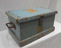 Antique Wood Toy Chest  Storage Milk Paint Blue Teddy Bear Decal Sturdy Iron Hardware Shabby Chippy Paint