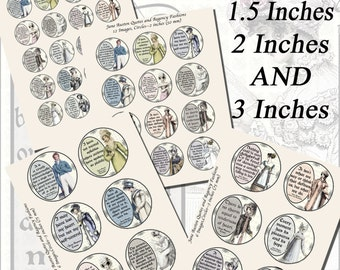 Jane Austen's Quotes and Regency Fashions Printables, EXTRA LARGE CIRCLES, 1.5 inch, 2 inch, 3 inch circles  (38mm,50mm,and 75 mm)