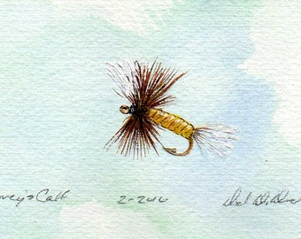 Fishing Art - Original Art - Watercolor - Coreys Calf Tail - Dry Fly - Made in Michigan - Michigan Artist - Fly Fishing - Black Frame