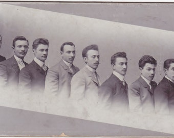 Antique Cabinet Card Photo of a Line of Intresting Prominent Looking Men