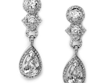 Clip On Wedding Earrings, Clip On Bridal Earrings, Clip On CZ Earrings, Clip On Earrings, Clip On Bridal Jewelry, Clip On Earring ~JE-1163